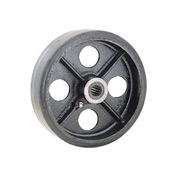 "5"" x 1-1/2"" Mold-On Rubber Wheel - Axle Size 1/2"""