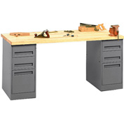 Pedestal Workbench With Two Three-Drawer Pedestals