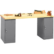 Pedestal Workbench With Two Cabinet Pedestals