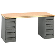Pedestal Workbench With Two Four-Drawer Pedestals
