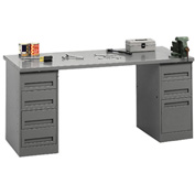 Pedestal Workbench 4-Drawer And 3-Drawer Pedestal