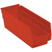 "Akro-Mils Plastic Shelf Bin, 4-1/8""W x 11-5/8""D x 4""H Red - Pkg Qty 24"