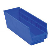 "Akro-Mils Plastic Shelf Bin Nestable 30164 - 6-5/8""W x 23-5/8""D x 4""H Blue - Pkg Qty 6"