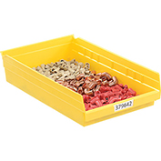 "Akro-Mils Plastic Shelf Bin Nestable 30178 - 11-1/8""W x 17-5/8""D x 4""H Yellow - Pkg Qty 12"