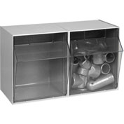 Quantum Tilt Out Storage Bin QTB302- 2 Compartments Gray
