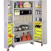 Lyon Storage Cabinet With 5 Full Shelves 12 Tilt Bins DD1127 - 38x28x76 Gray