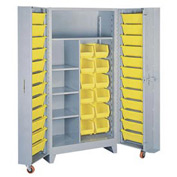 Lyon Storage Cabinet With1 Full Shelf 5 Half Shelves 36 Tilt Bins DD1128 - 38x28x76 Gray