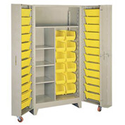 Lyon Storage Cabinet With1 Full Shelf 5 Half Shelves 36 Tilt Bins PP1128 - 38x28x76 Putty