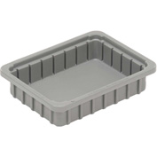 "Dandux Dividable Stackable Plastic Box 50P0110034 -  11""L x 8""W x 3-1/2""H, Gray"
