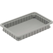 "Dandux Dividable Stackable Plastic Box 50P0112015 -  16""L x 11""W x 1-3/4""H, Gray"
