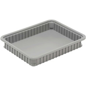 "Dandux Dividable Stackable Plastic Box 50P0114034 -  22-1/2""L x 17-1/2""W x 3-1/2""H, Gray"