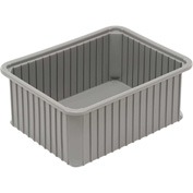 "Dandux Dividable Stackable Plastic Box 50P0114080 -  22-1/2""L x 17-1/2""W x 8""H, Gray"
