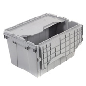 "Akro-Mils Attached Lid Container 39120GREY - 21-1/2""L x 15""W x 12-1/2""H - Pkg Qty 6"