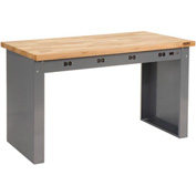 "60""W x 30""D Panel Leg Workbench With Power Apron and Maple Butcher Block Square Edge Top"