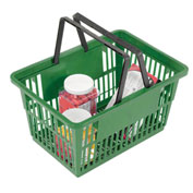 "Plastic Shopping Basket with Plastic Handle, Large, 19-3/8""L X 13-1/4""W X 10""H, Green, Good L ® - Pkg Qty 12"