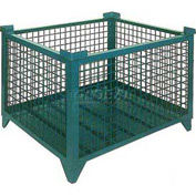 "Topper Stackable Steel Container 61006GDG Wire Mesh, Drop Gate, 35""L x 35""W x 24""H, Green"