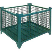 "Topper Stackable Steel Container 61008G Wire Mesh, 48""L x 35""W x 24""H, Green"