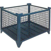 "Topper Stackable Steel Container 61008DG Wire Mesh, Drop Gate, 48""L x 35""W x 24""H, Unpainted"