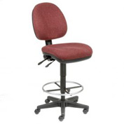 Office Stool - Fabric - 360° Footrest - Burgundy