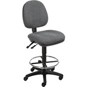Task Stool - Fabric - 360° Footrest - Gray