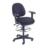 Office Stool With Arms - Fabric - 360° Footrest - Black