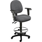 Office Stool With Arms - Fabric - 360° Footrest - Gray