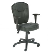 Boss Office Chair with Adjustable Arms - Leather - Mid Back - Black