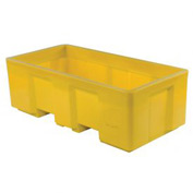 "Dandux Forkliftable Single Wall Skid Bulk Container 51-2175YL - 62"" x 31"" x 21"", Yellow"