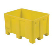 "Dandux Forkliftable Double Wall Skid Bulk Container 512110Y - 36"" x 26"" x 16-1/2"", Yellow"