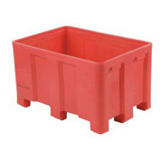 "Dandux Forkliftable Double Wall Skid Bulk Container 51-2126RD - 54"" x 44"" x 31"", Red"