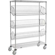 "Adjustable Mobile Wire Bin Rack - 36""W x 24""D x 69""H"