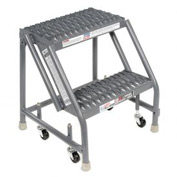 "Grip 16""W 2 Step Steel Rolling Ladder 10""D Top Step"
