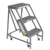 "Grip 16""W 3 Step Steel Rolling Ladder 20""D Top Step"