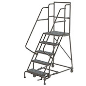 "Perforated 16""W 5 Step Steel Rolling Ladder 20""D Top Step"