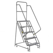 "Perforated 24""W 5 Step Steel Rolling Ladder 10""D Top Step"
