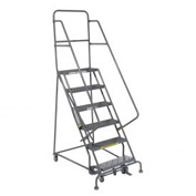 "6 Step 24""W 20""D Top Step Steel Rolling Ladder - Grip Tread"