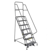 "7 Step 24""W 10""D Top Step Steel Rolling Ladder - Perforated Tread"