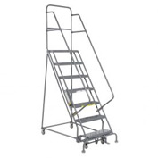 "7 Step 24""W 20""D Top Step Steel Rolling Ladder - Grip Tread"