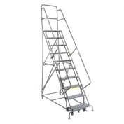 "10 Step 24""W 20""D Top Step Steel Rolling Ladder - Perforated Tread"