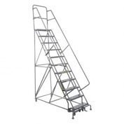 "11 Step 24""W 10""D Top Step Steel Rolling Ladder - Perforated Tread"