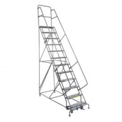 "15 Step 24""W 10""D Top Step Steel Rolling Ladder - Perforated Tread"