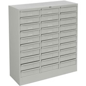 "Tennsco Drawer Cabinet 2085 053 - 30 Drawer Letter Size, 30 5/8""W X 11-5/8""D X 33""H, Light Grey"