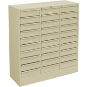 "Tennsco Drawer Cabinet 2085 216 - 30 Drawer Letter Size, 30 5/8""W X 11-5/8""D X 33""H, Champagne Putty"