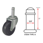 Algood Standard Series Chair Caster with Hard Rubber Wheel S823375SX1-U - Stem Type A