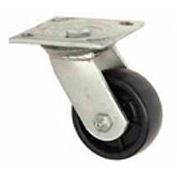 "Medium Duty Swivel Plate Caster 3-1/2"" Soft Rubber Wheel 200 Lb. Capacity"