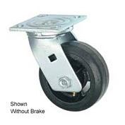 "Faultless Swivel Plate Caster 1418-5RB 5"" Mold-On Rubber Wheel with Brake"