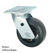 "Faultless Swivel Plate Caster 1418-8RB 8"" Mold-On Rubber Wheel with Brake"