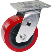 "Faultless Swivel Plate Caster 1498-5RB 5"" Polyurethane Wheel with Brake"