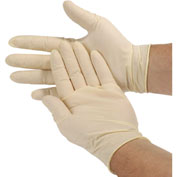 Disposable Latex Gloves, Powder-Free, White, 100/Box