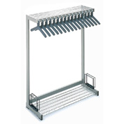 "48""W Floor Rack With 16 Hangers - Gray"